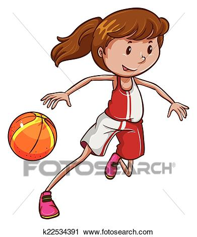 A girl playing basketball Clipart.