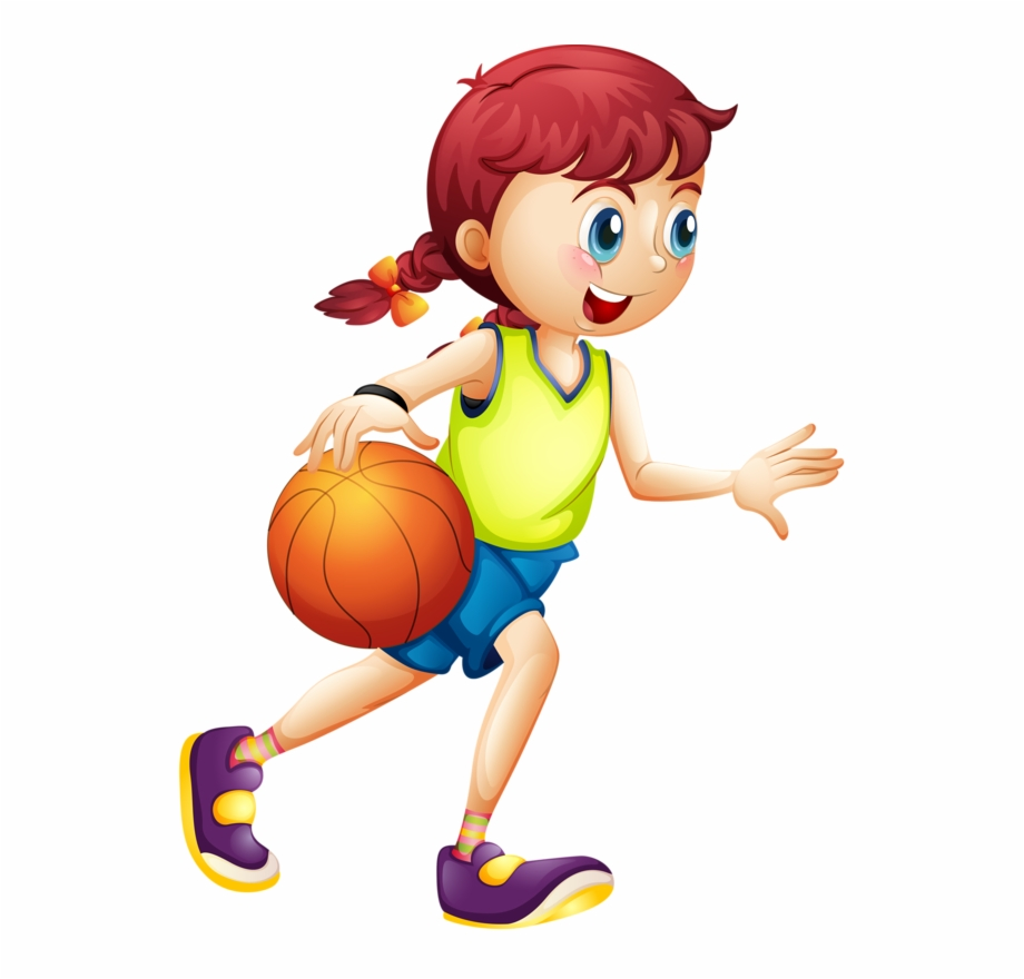 Girl Play Basketball Cartoon Free PNG Images & Clipart Download.