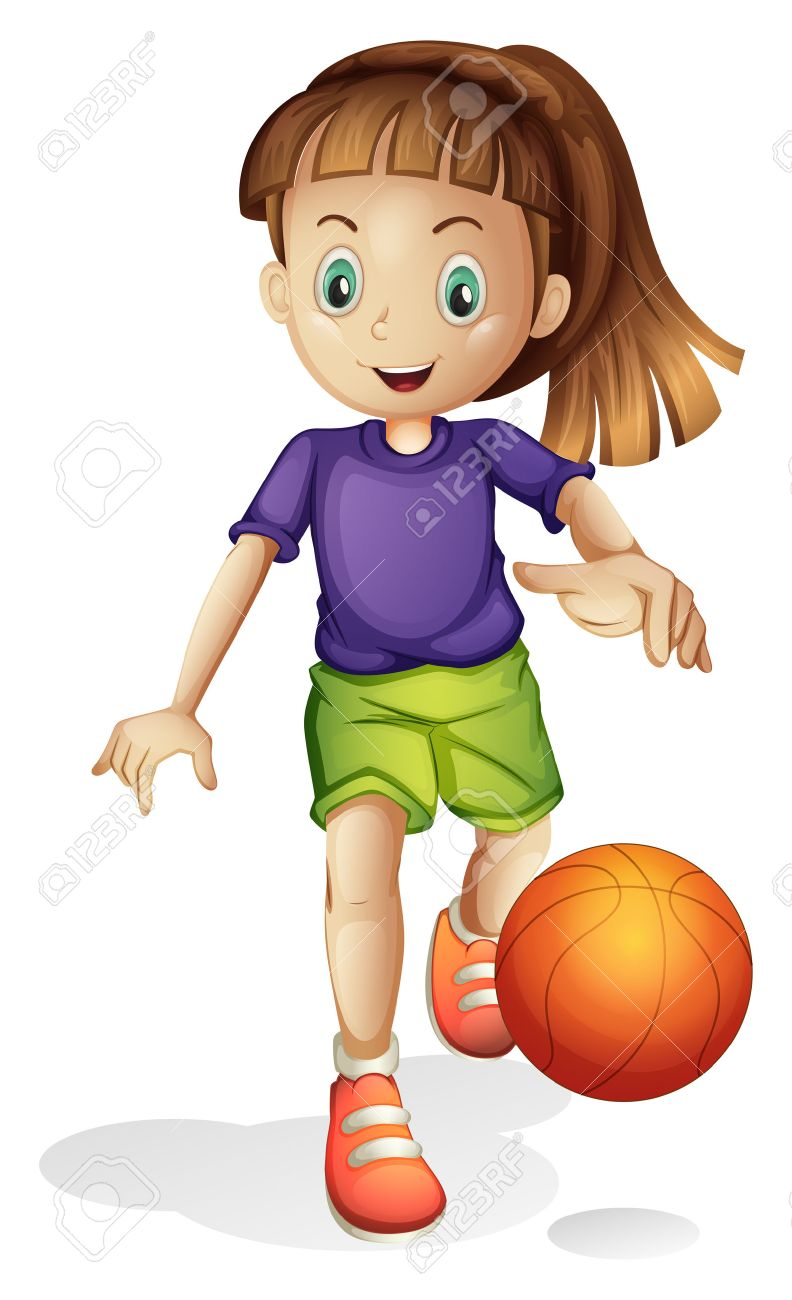 Illustration of a young girl playing basketball on a white background.