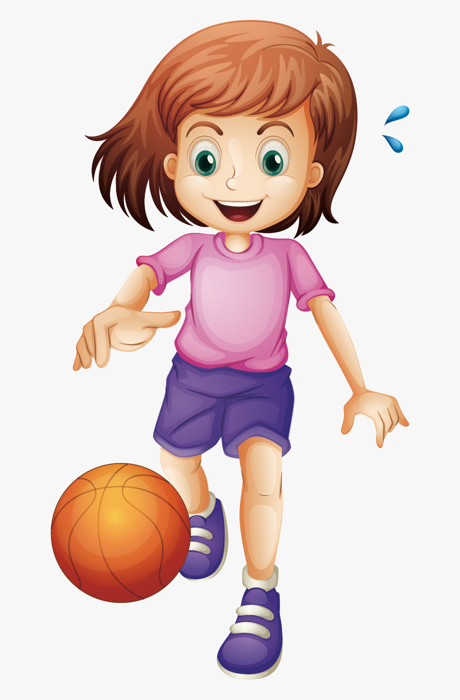 Girls Playing Basketball Clipart.