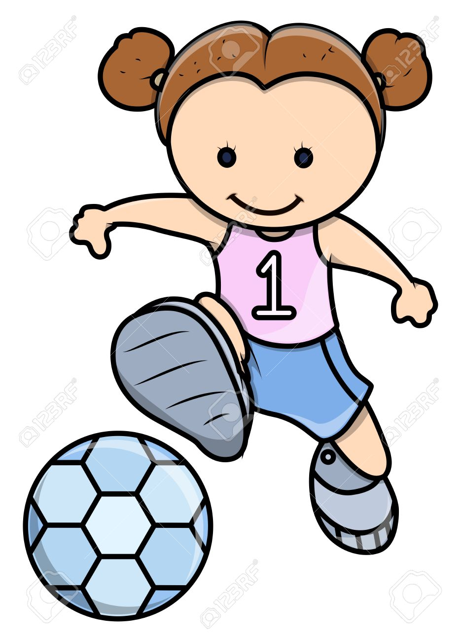 Little Girl Playing Football.