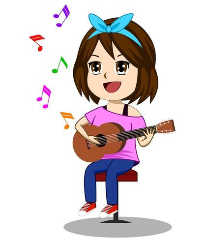 Cute girl playing guitar.
