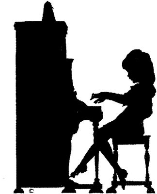 Girl playing piano silhouette.