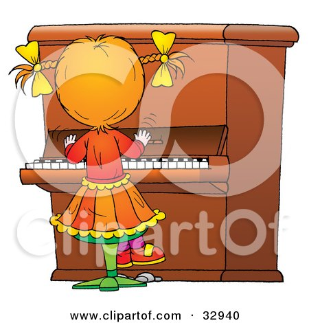 Cartoon of a Pianist Playing Music at a Concert.