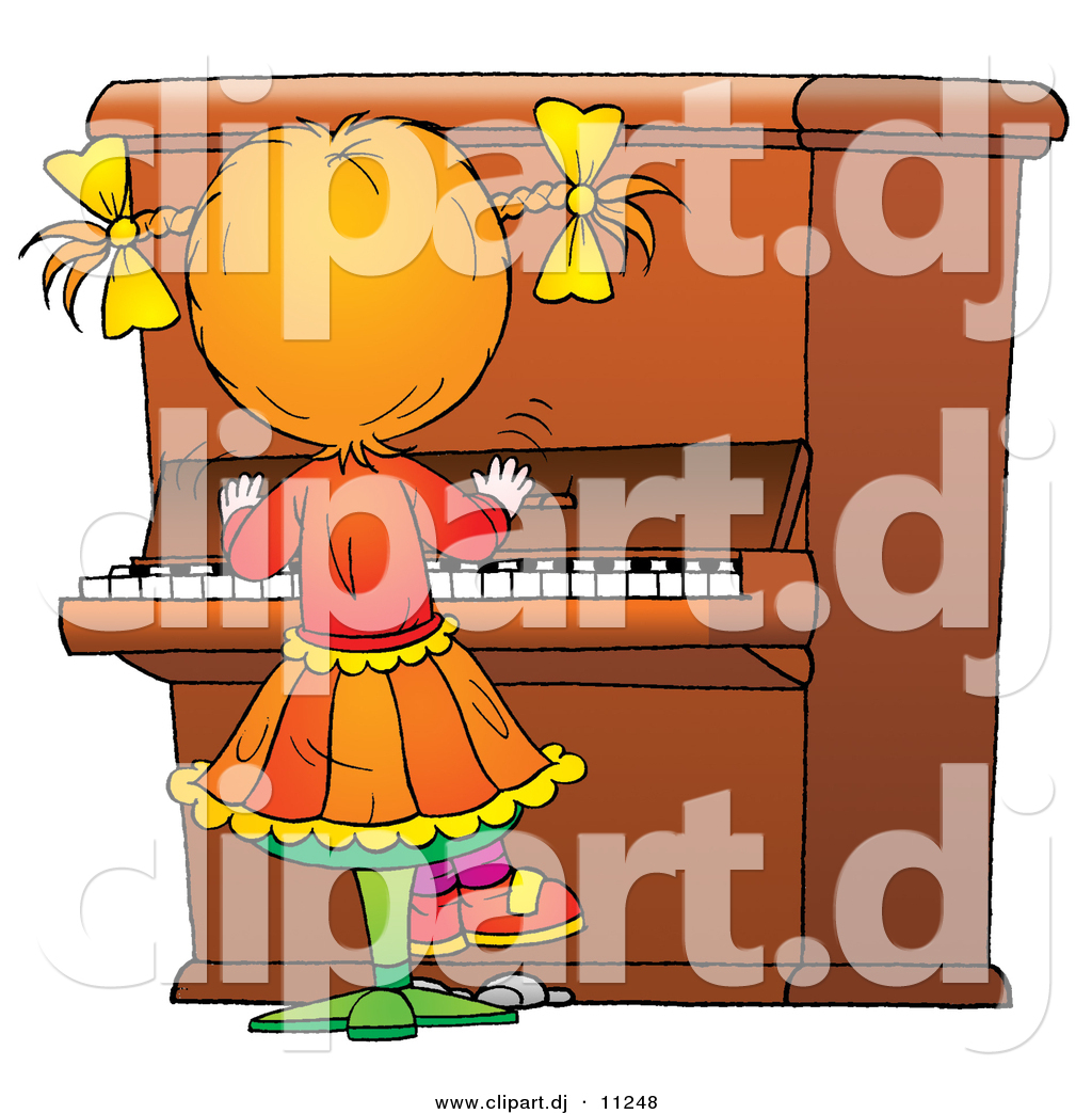 Clipart of a Cartoon Girl Playing Piano by Alex Bannykh.