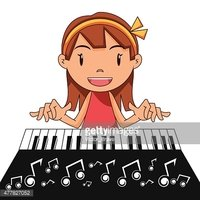 Girl Playing Piano stock vectors.