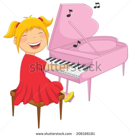 Piano Girl Stock Images, Royalty.