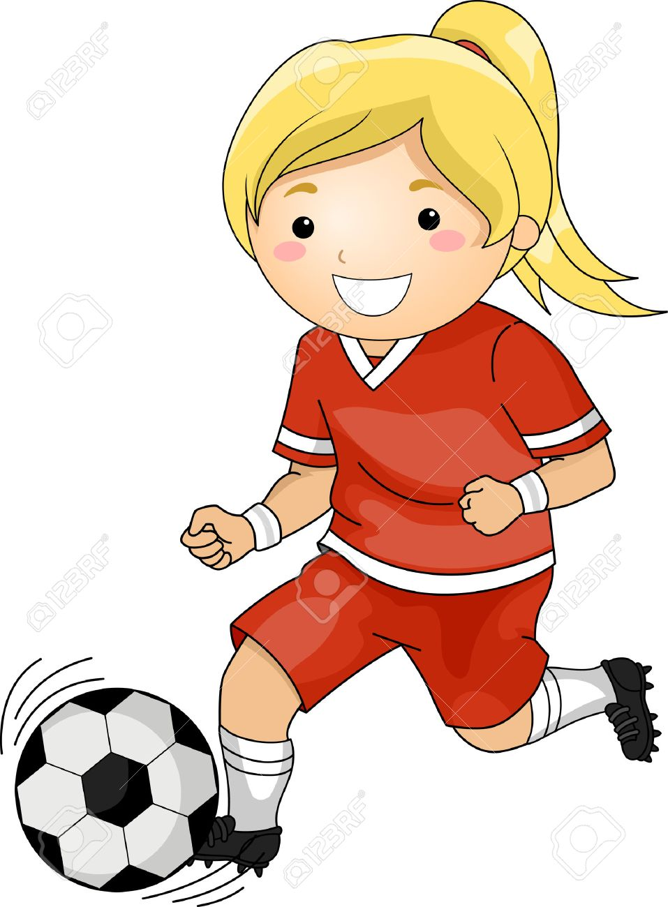 Illustration of a Girl Playing Soccer.