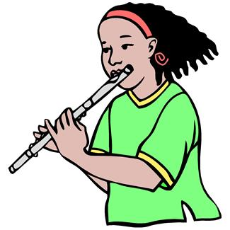 Young girl playing flute..