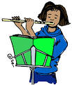 Girl Playing Flute Clipart.