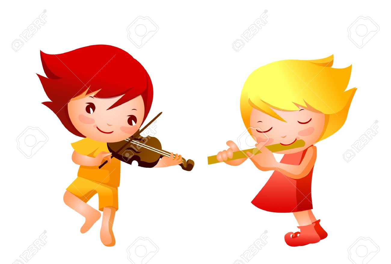 Girl Playing The Flute Clipart.