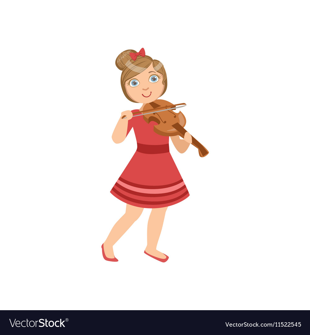 Girl In Red Dress Playing Violin.
