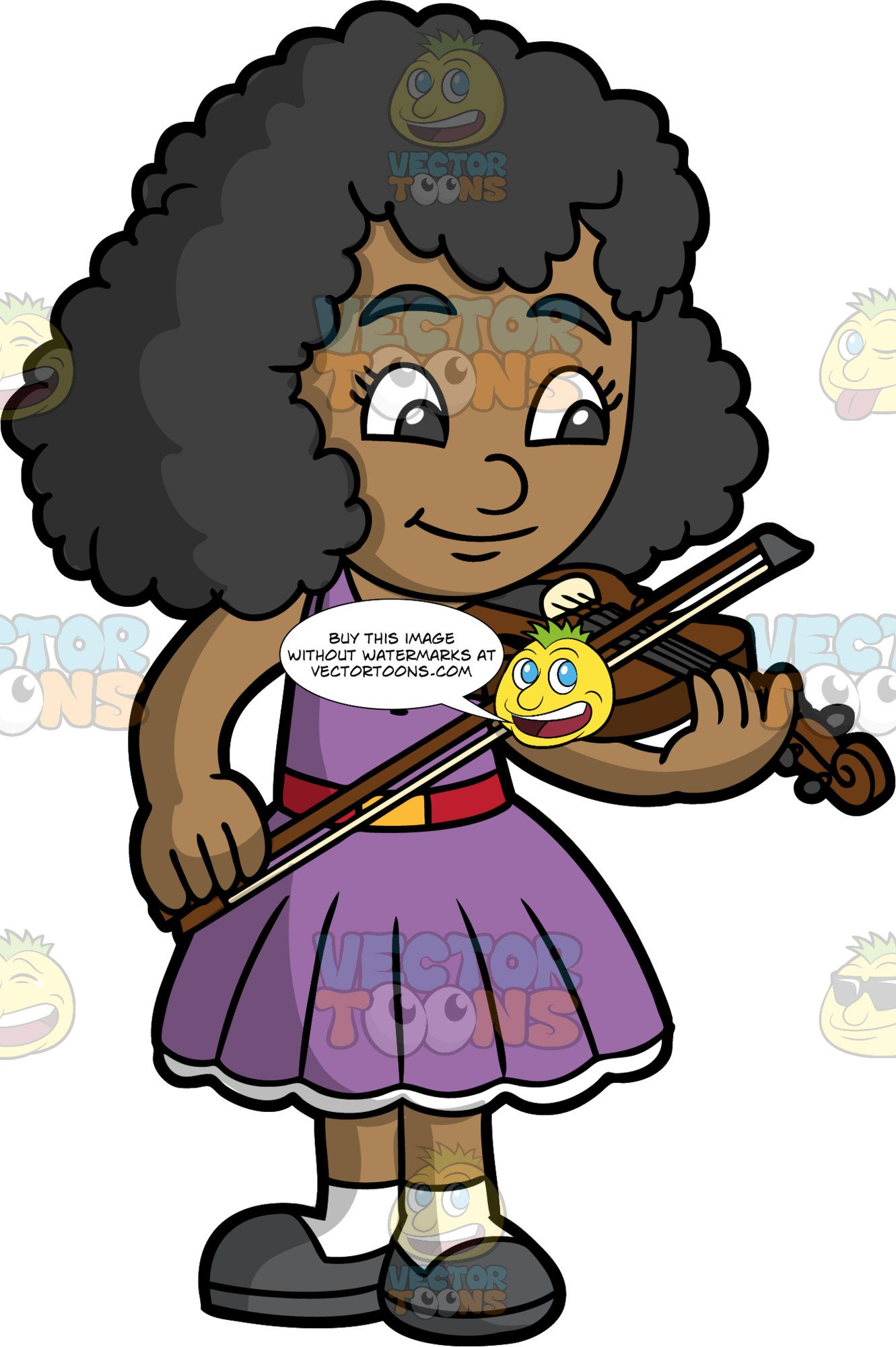 A Pretty Black Girl Playing The Violin.