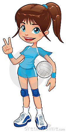 A Young Volleyball Player Stock Vector.