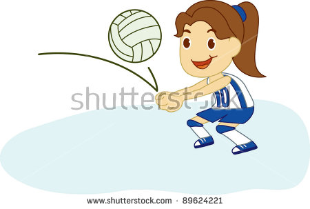 Girl Playing Volleyball Stock Vector 89624221.