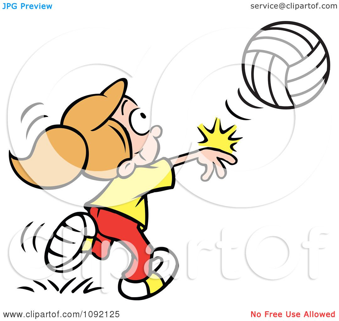 Clipart Athletic Girl Whacking A Volleyball.