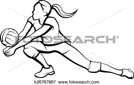 Clip Art of Volleyball Dig Girl k26767867.