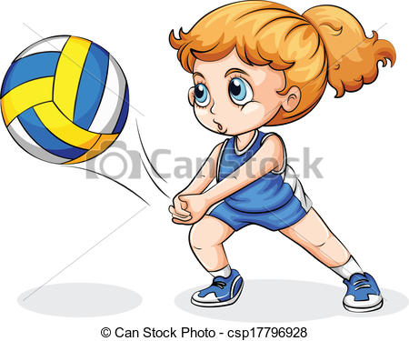 Girl Playing Volleyball Clipart.