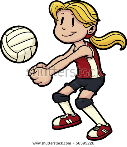 Girl Playing Volleyball Stock Images, Royalty.