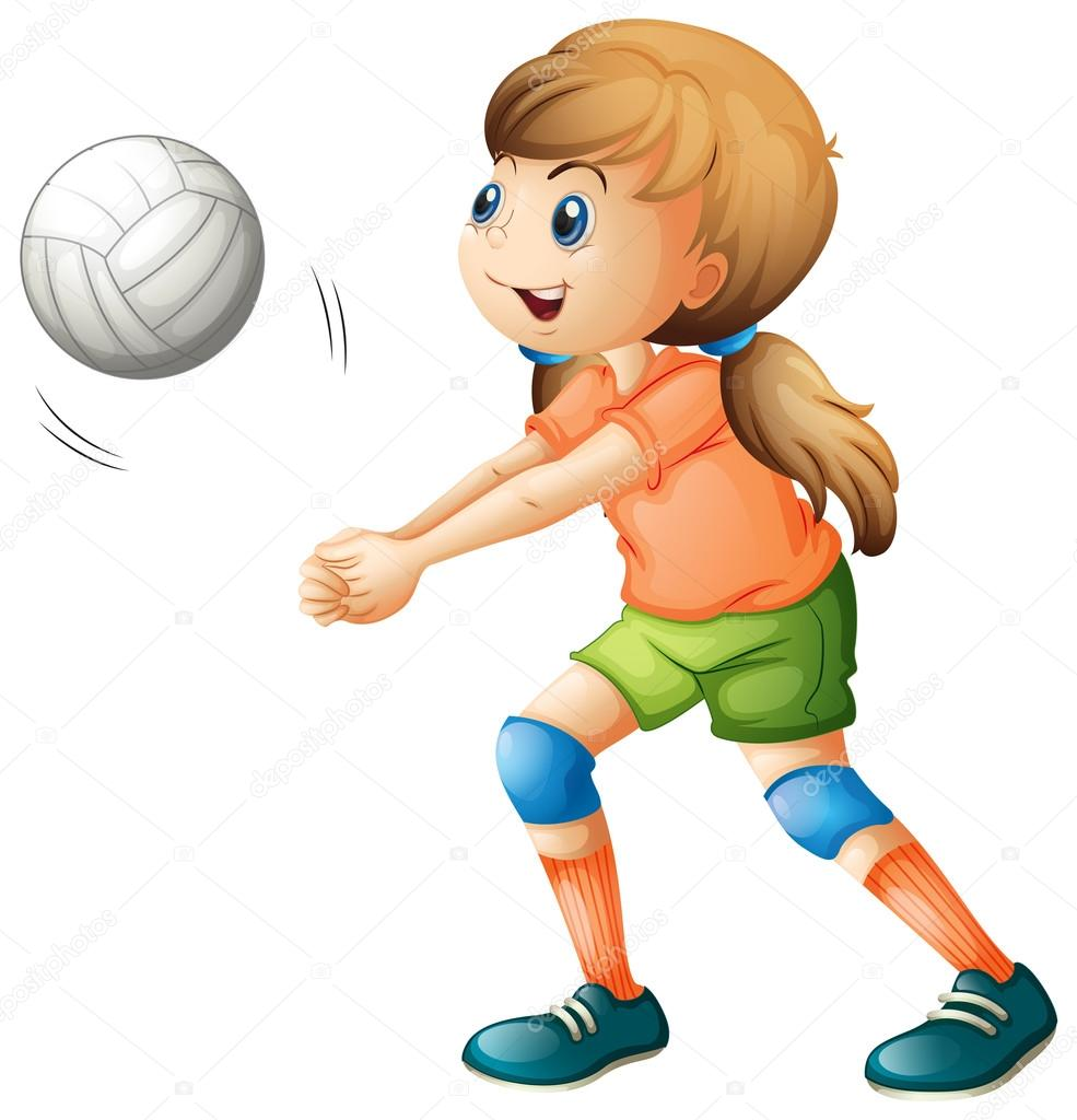A smiling girl playing volleyball — Stock Vector © interactimages.