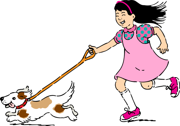 Dog And Girl Clipart.