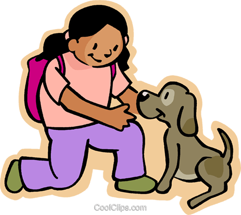 girl playing with dog Royalty Free Vector Clip Art.