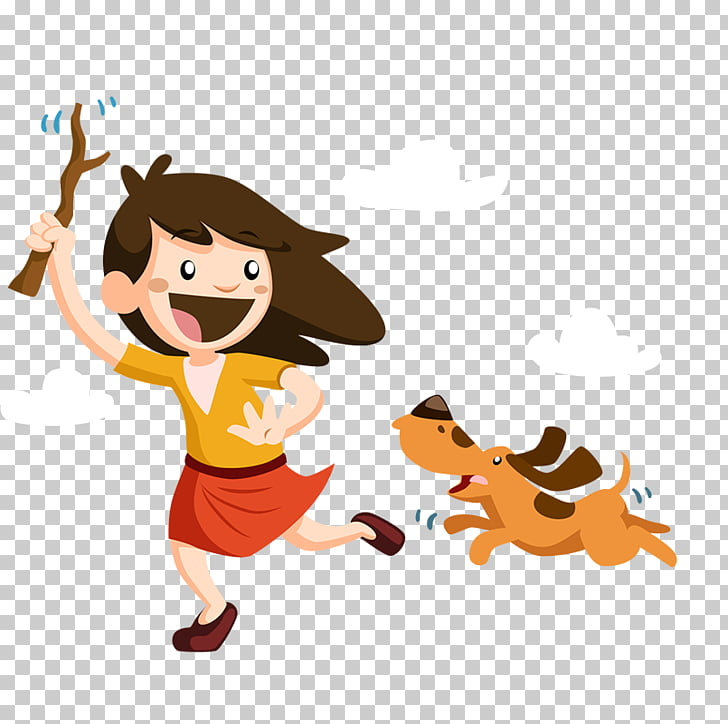 Child Play , The little girl playing with the dog PNG.