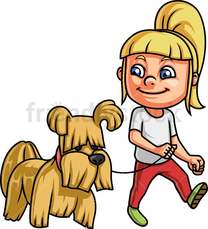 Little Girl Walking Her Dog.