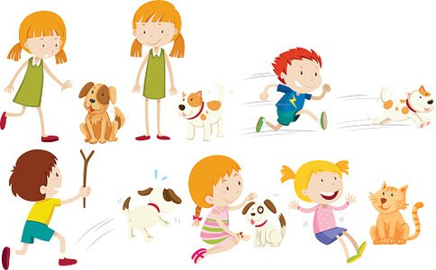 Girl and boy playing with dog Clipart Image.
