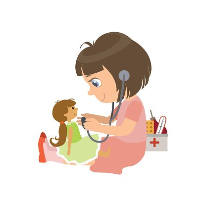 Girl Playing With A Doll Clipart Image.