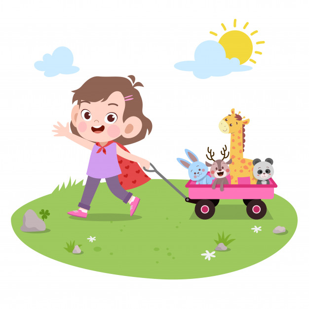 Kid girl play toys vector illustration isolated Vector.
