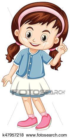 Little girl pointing finger up Clip Art.