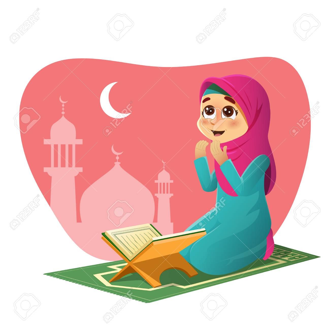 Muslim Girl Praying vector illustration.