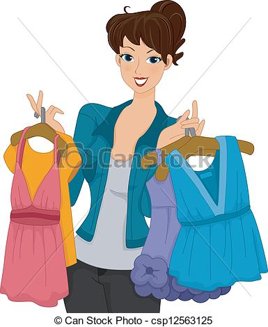 Girl Putting Clothes On Clipart.