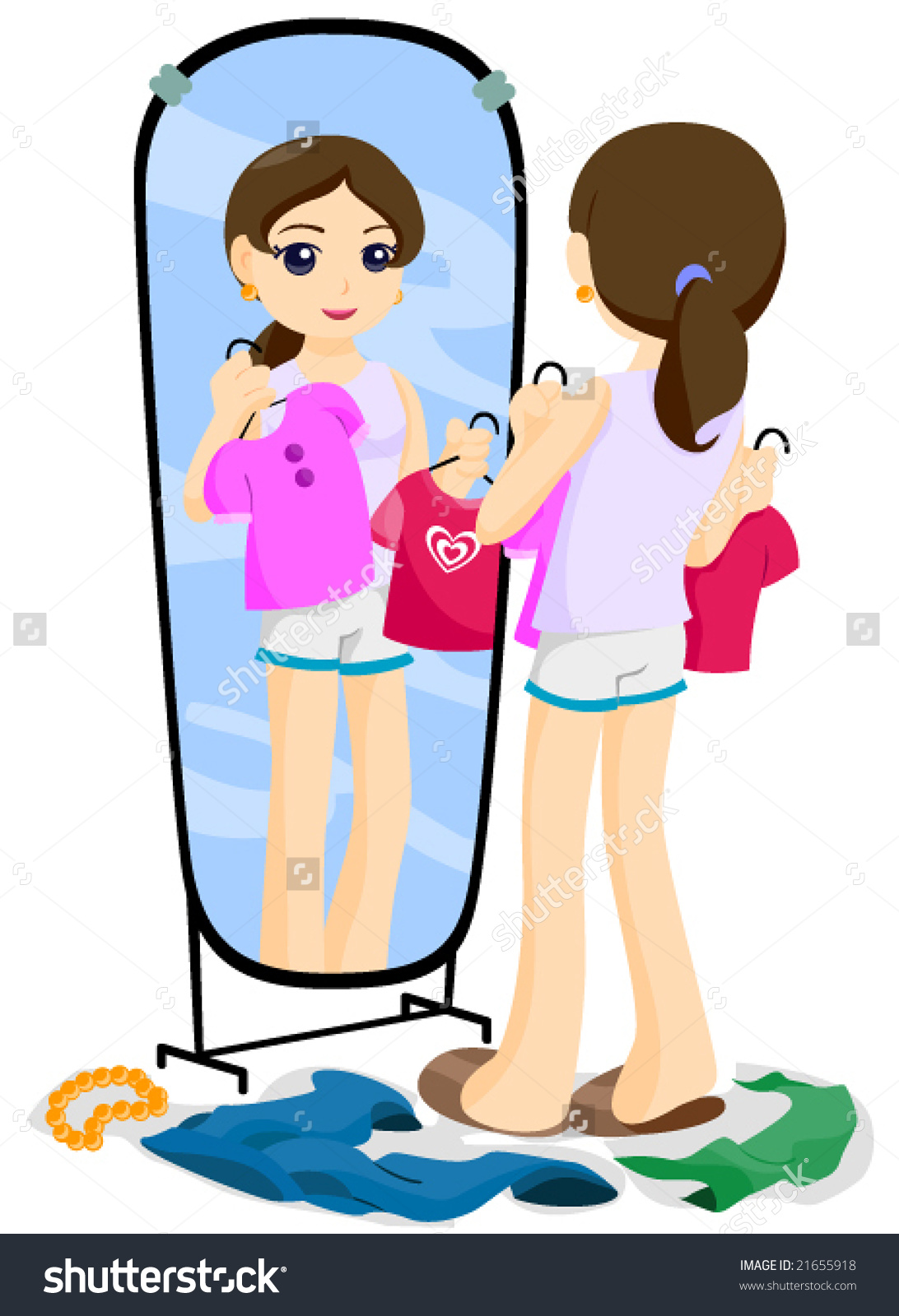 Girl Putting On Clothes Clipart.