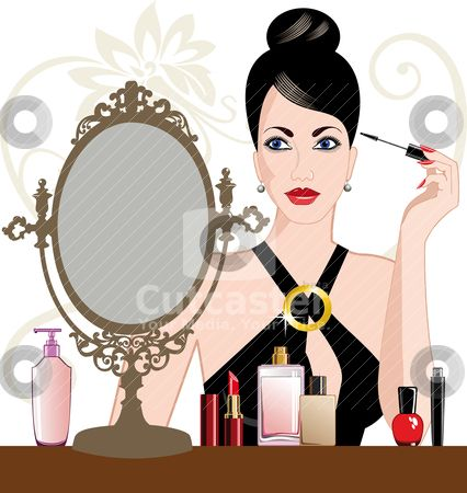 clipart of a lady putting makeu on.