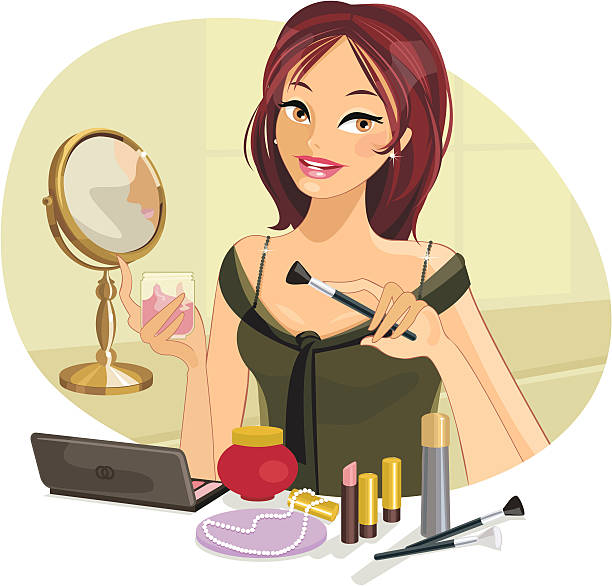 Best Woman Putting On Makeup Illustrations, Royalty.