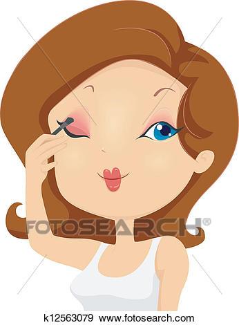 Girl Applying Eyeshadow Makeup on Eyelids Clip Art.