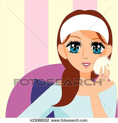Manga girl putting on makeup Clipart.