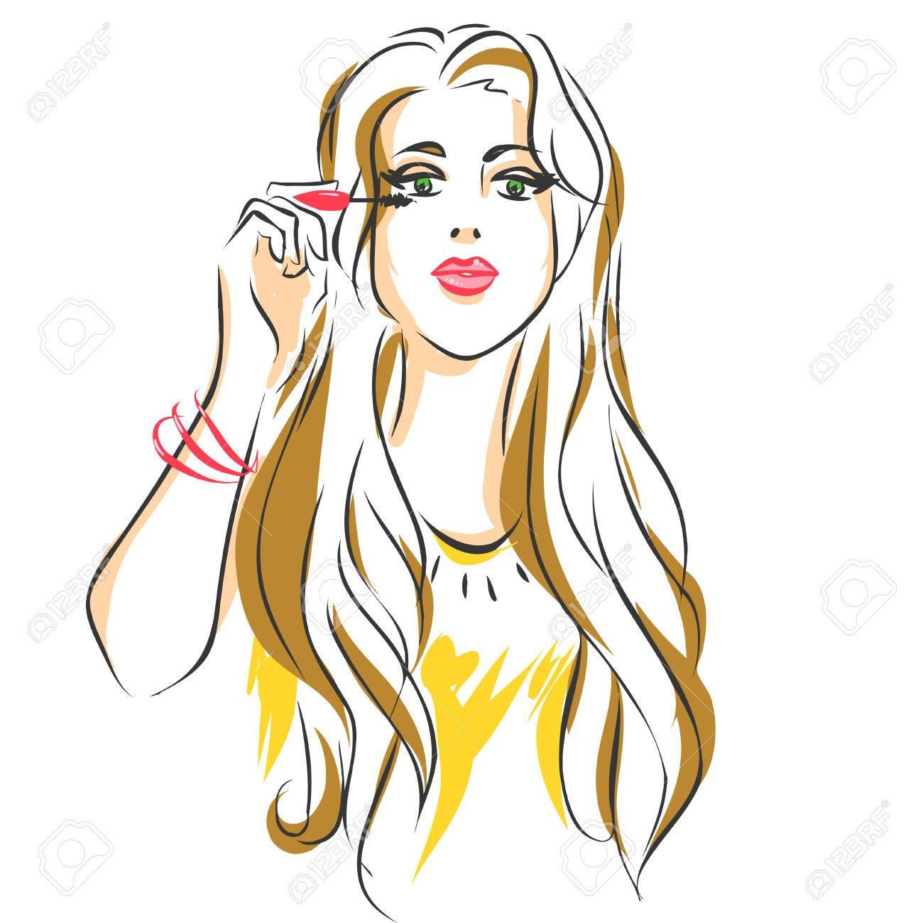 Young beautiful woman apply makeup on her face, girl puts mascara...
