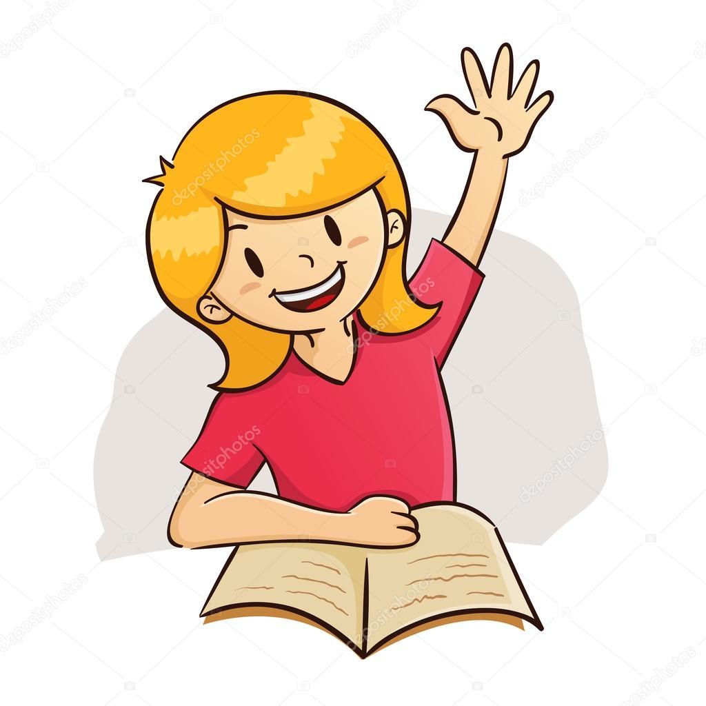 Girl raising hand while study — Stock Vector © yusak_p #75584707.