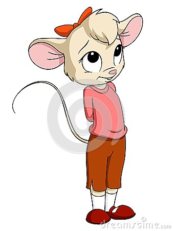 Cartoon Little Mouse Female In Pink Blouse Royalty Free Stock.