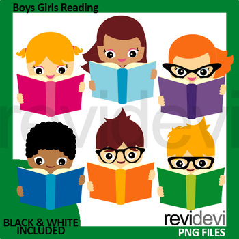 Boys Girls Reading a Book Clipart.