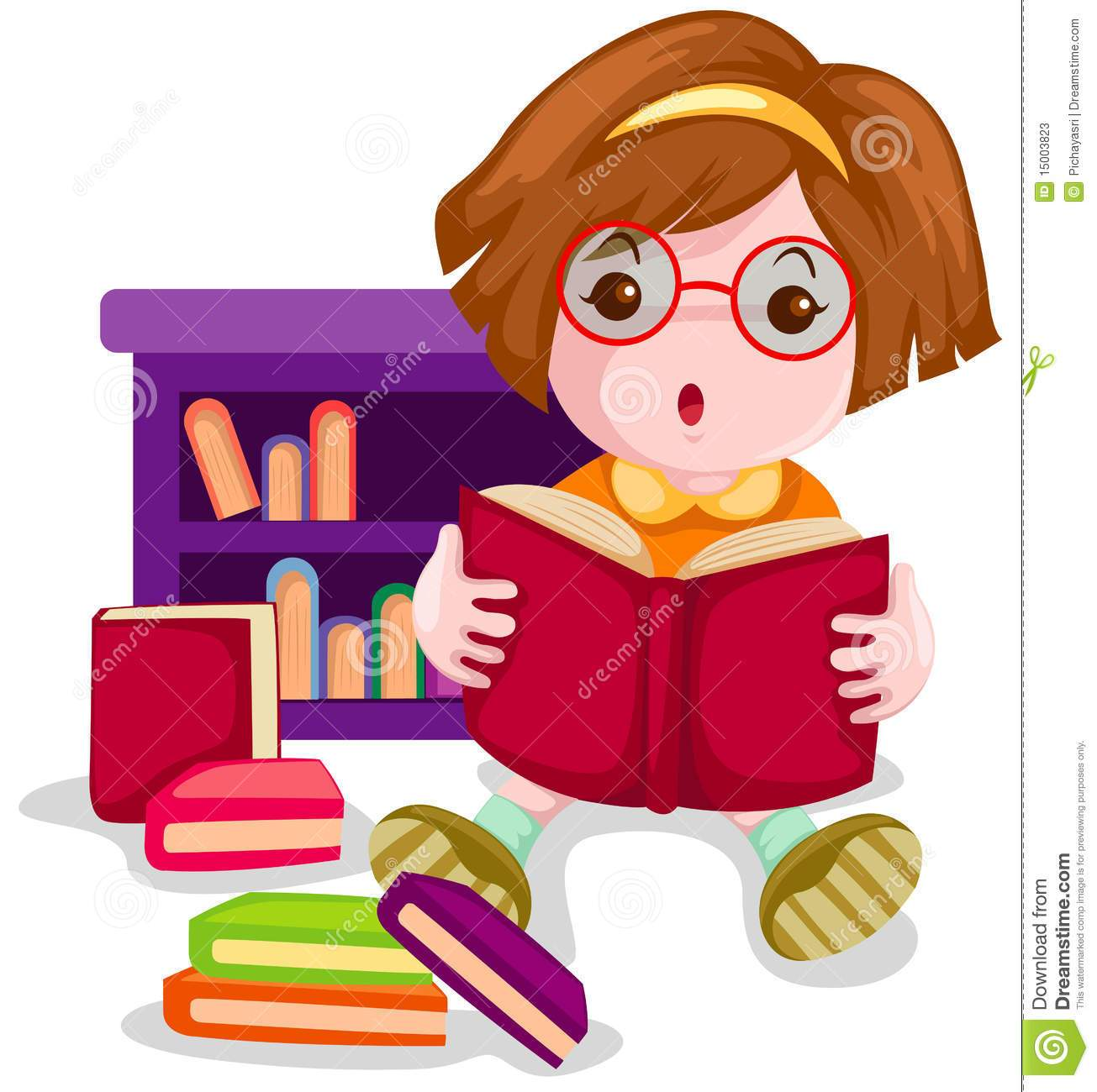 Cute girl reading a book clipart » Clipart Portal.