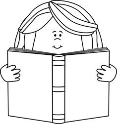 Girl Reading A Book Clipart Black And White.