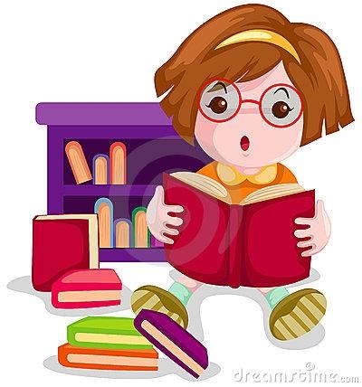 Girl Reading A Book Clipart.