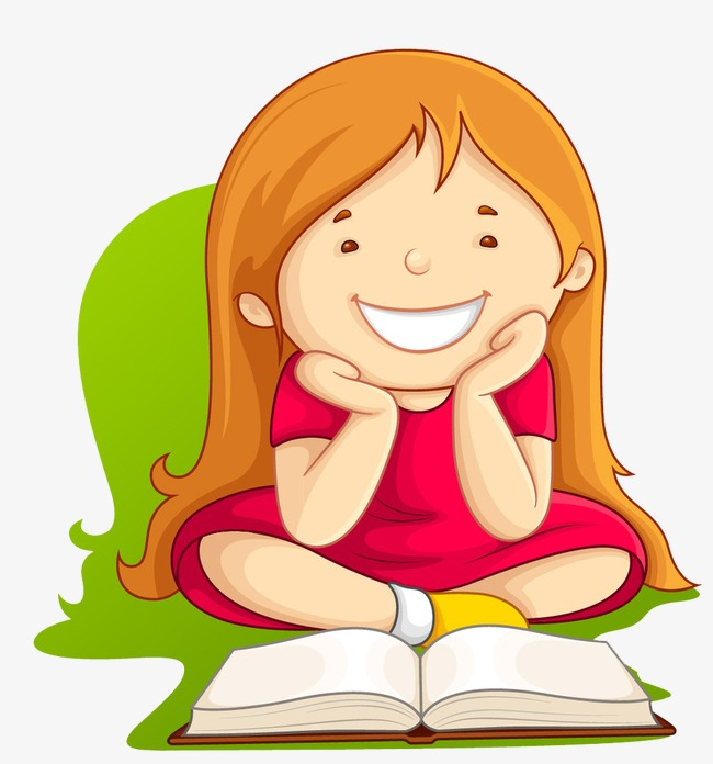 Little Girl Reading, Reading Clipart, Ca #72385.