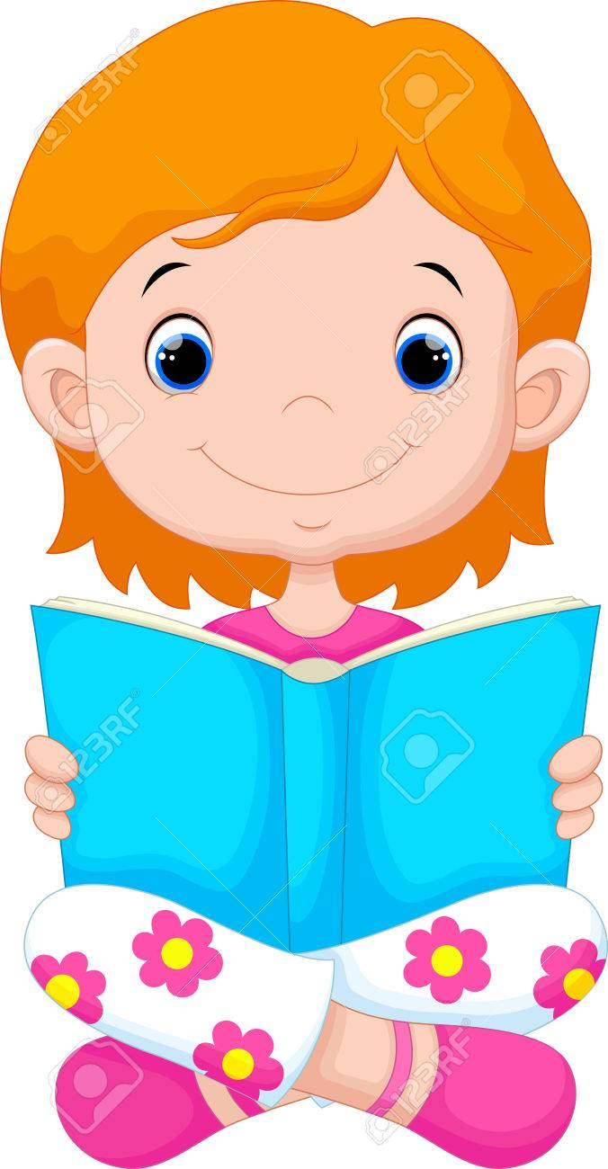 Clipart Of Little Girl Reading & Free Clip Art Images #27845.