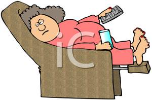 Colorful Cartoon of a Woman In a Recliner with a Remote and.