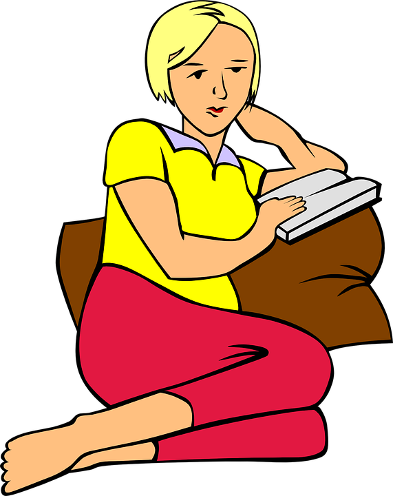 Free vector graphic: Girl, Reading, Relaxed, Book.